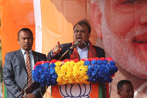 Assam minister Himanta Biswa Sarma addressing a rally at Tikrikilla. Photo: Saidul Khan