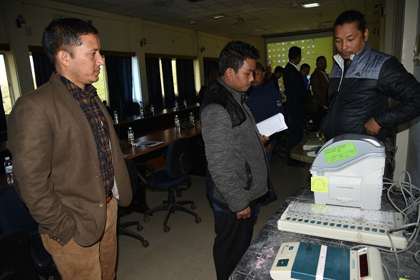 A view of VVPAT demonstration by district administration at Tura. Photo: Saidul Khan