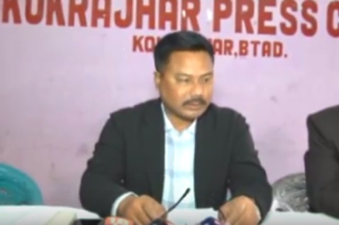 Jubiraj Basumatary, president of the Bodoland Wushu Association addressing the media in Kokrajhar on Friday