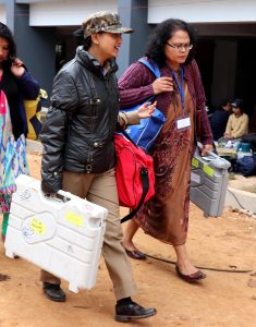 26-02-18 Shillong- Polling officials carrying EVM machine (6)