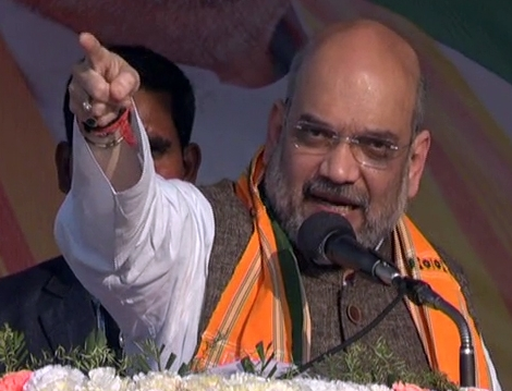 BJP president Amit Shah addressing an election rally at Khowai.