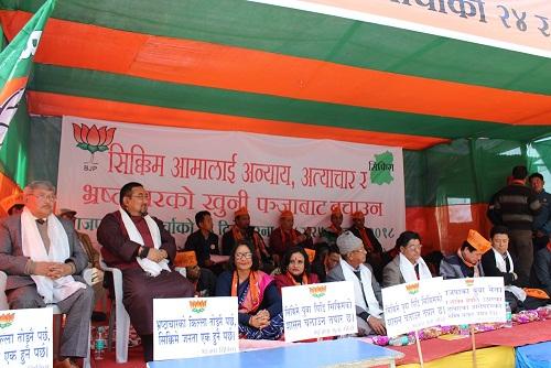 BJYM Sikkim dharna