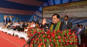 Assam Chief Minister Sarbananda Sonowal speaking at the 16th Bodoland Day celebration.