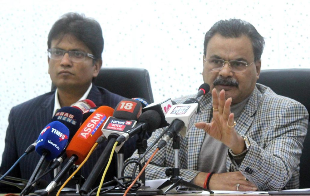 Chandra Mohan Patowary adressing media persons at Dispur on Thursday. UB