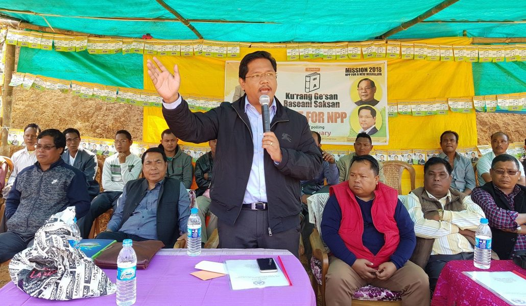 Conrad Sangma speaking during an election campaign at Dagal.