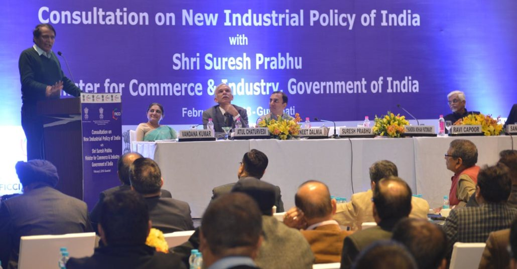 Union Commerce and Industries Minister Suresh Prabhu speaking at the first consultation on Industrial Policy held at Guwahati.