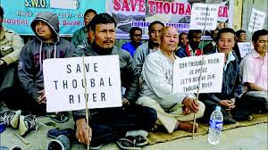 File picture of protestors asking the Manipur government to save river Thoubal.