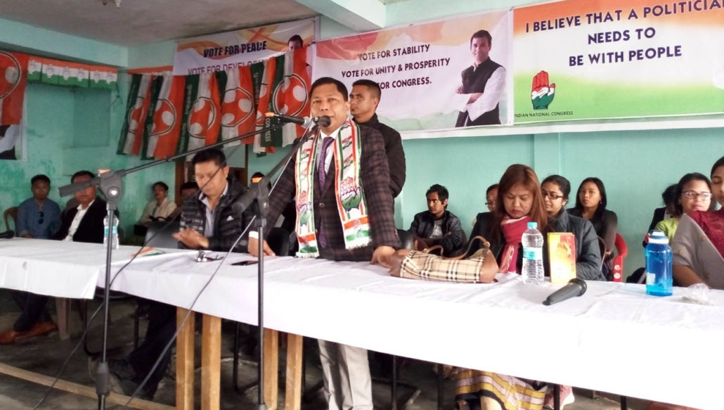 Mukul Sangma addressing Congress party functionaries at the Congress Bhavan in Williamnagar on Wednesday.