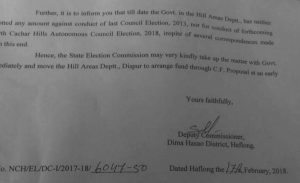 A part of the letter from the DC, Dima Hasao to the Secretary of Assam State Election Commission.