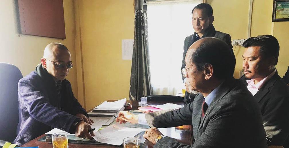 Neiphiu Rio filing nomination for the upcoming Nagaland polls.
