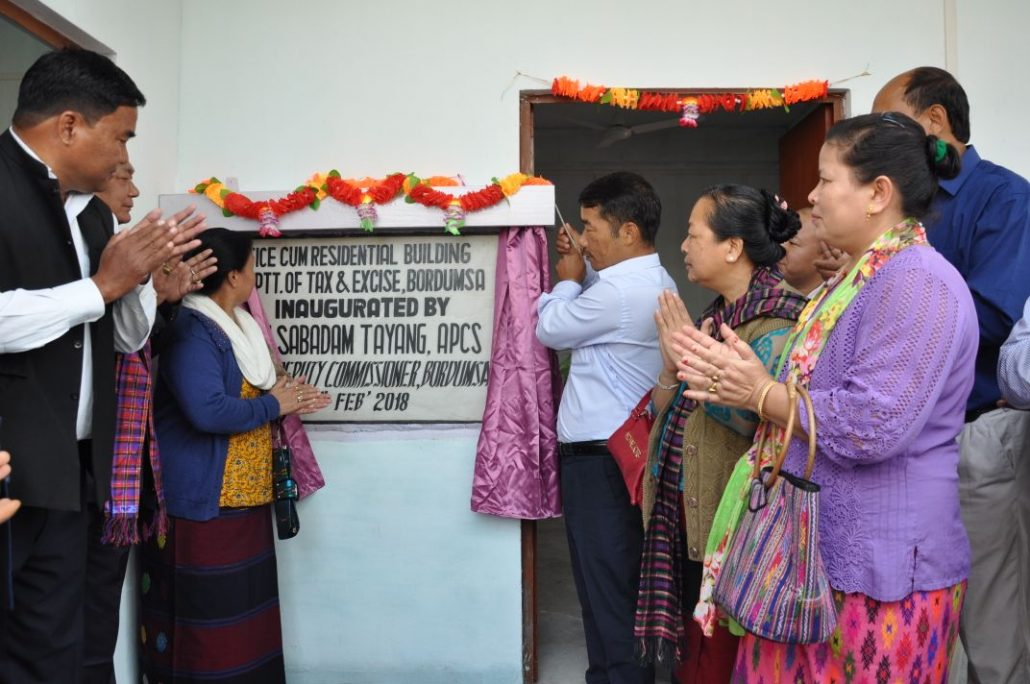 The office-cum-residential building of the Department of Tax & Excise, Bordumsa, being inaugurated by Sabadam Tayang.