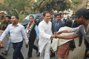 Congress President Rahul Gandhi along with Chief Minister Mukul Sangma and others at Garobadha in West Garo Hills.