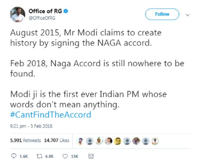 Rahul Gandhi takes a jab at Prime Minister over Naga Accord 1