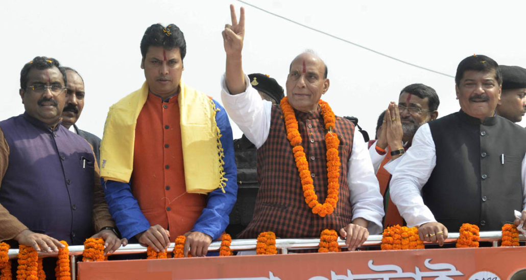 Union Home Minister Rajnath Singh along with Biplab Deb (left) during an election campaign at Agartala.