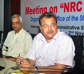 Registrar General of India, Sailesh (R) during a meeting in Guwahati. File photo
