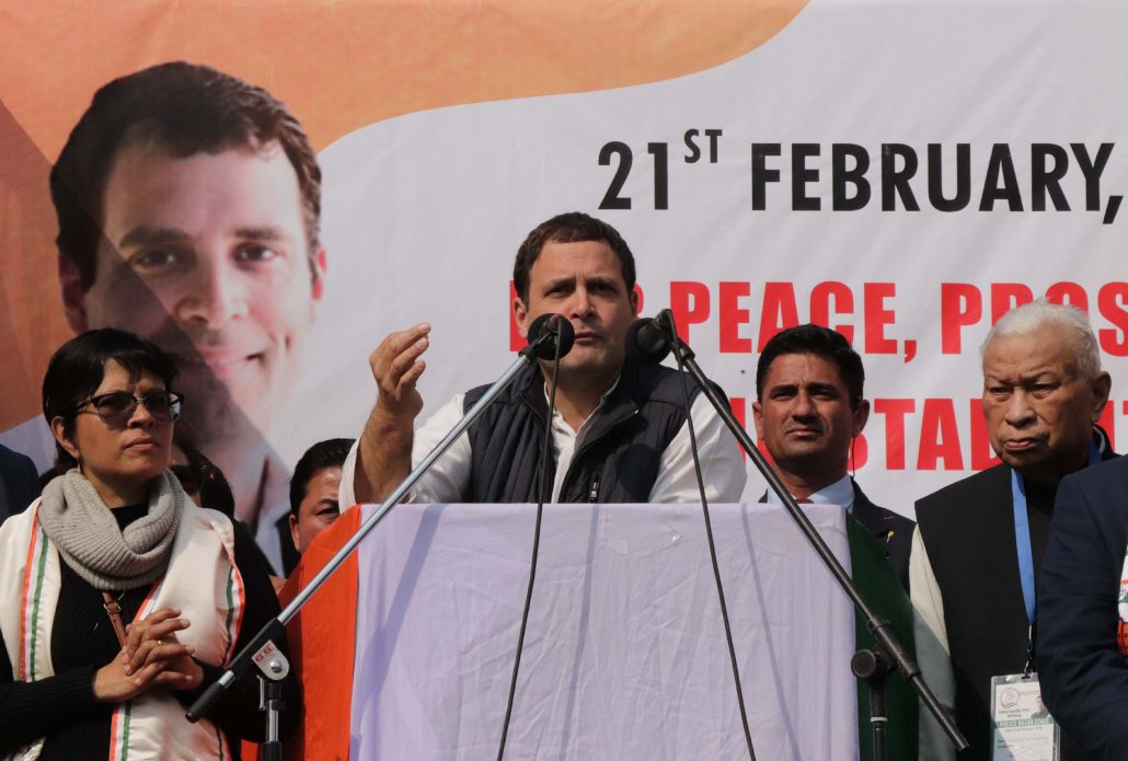 Congress president Rahul Gandhi addressing a large crowd to drum up support for the party . File photo