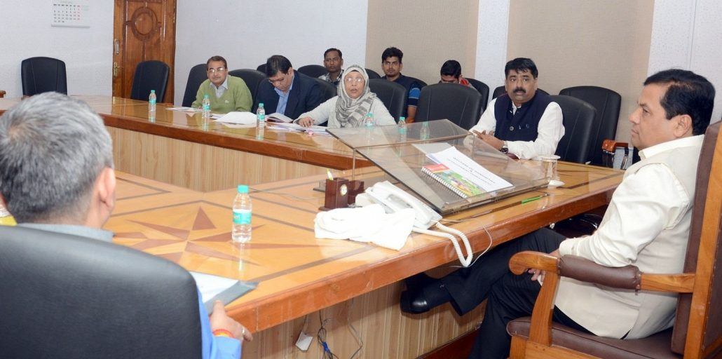Chief Minister Sarbananda Sonowal in a meeting to finalise modalities for setting up of 21 model schools in minority concentration areas at Janata Bhawan in Dispur on Friday.