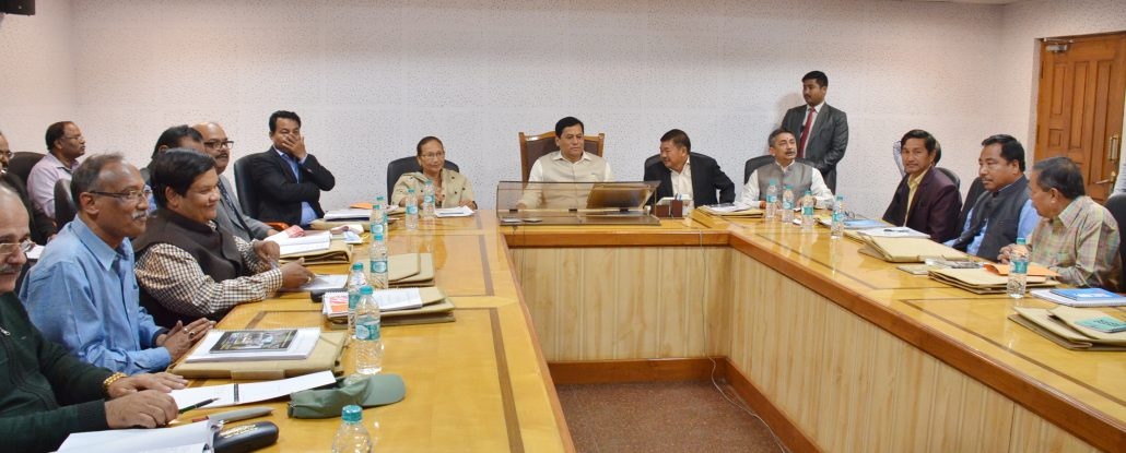 Chief Minister Sarbananda Sonowal in a meeting with the Board Members of State Board for Wildlife Assam in Janata Bhawan.