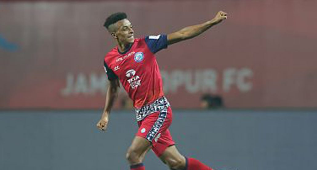 Wellington Priori of Jamshedpur FC celebrates the goal during match 69 of the Hero Indian Super League between Jamshedpur FC and NorthEast United FC held at the JRD Tata Sports Complex, Jamshedpur,.