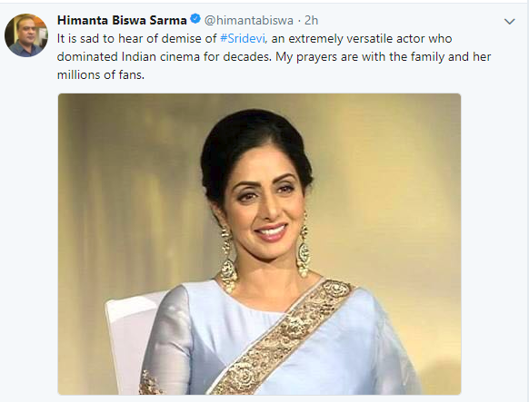 Northeast showers glowing tribute to veteran actress Sridevi 2