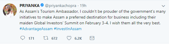 Assam Tourism Ambassador Priyanka Chopra conveys best wishes for global investors summit 1