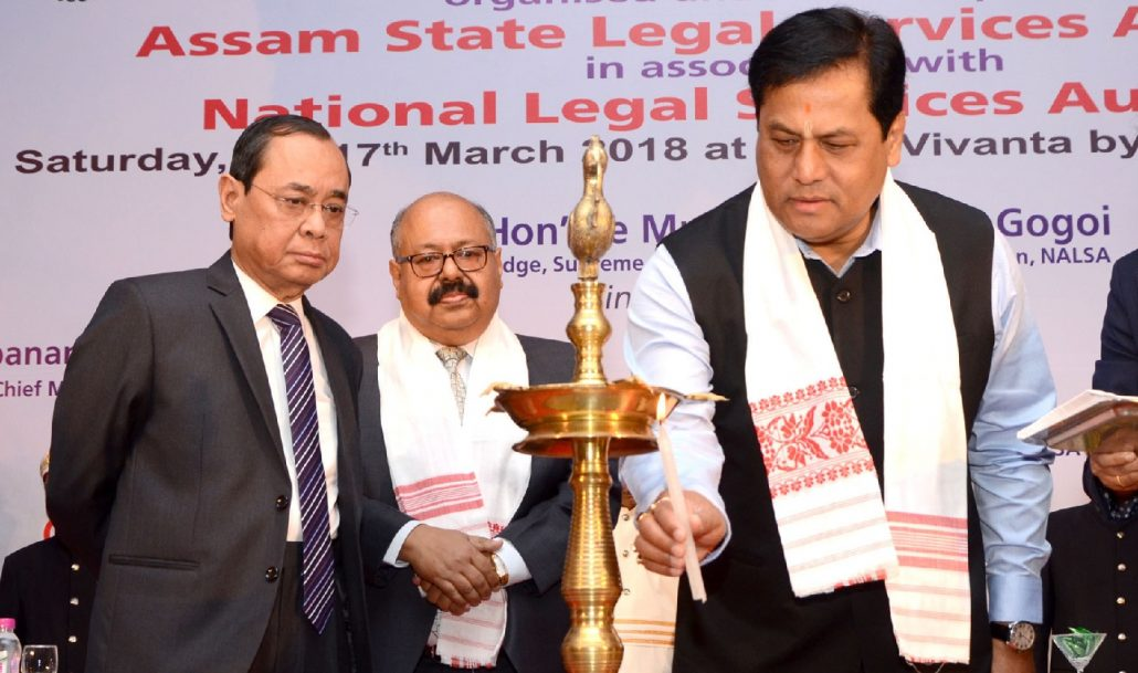 Chief Minister Sarbananda Sonowal along with Judge of Supreme Court, Justice Ranjan Gogoi (left) inaugurating the 16th All India Meet of State Legal Services Authorities at Guwahati on Saturday. UB