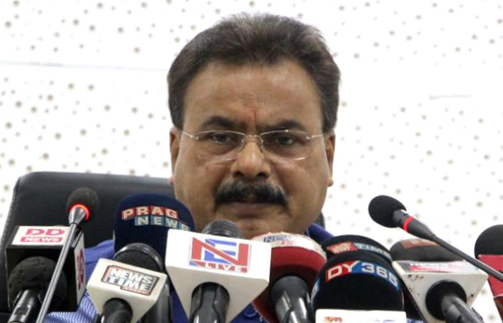 Assam industries and commerce minister Chandra Mohan Patowary addressing a press conference in Guwahati on Thursday. Photo credit: UB Photos