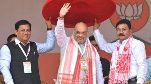 National BJP President Amit Shah at the Booth Sabhapati Sanmelan in ,Guwahati on Saturday. UB
