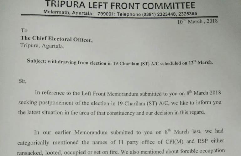 Tripura Left Front Committe's letter to Tripura CEO.