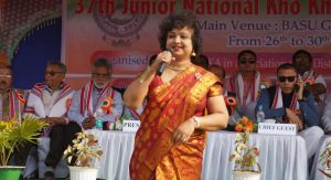Singer Sangite Kakati performing at the inaugural function of the 37th National Kho Kho Championship.