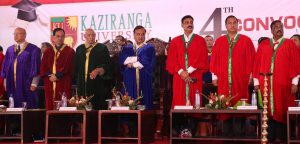 Education Minister Himanta Biswa Sarma along with other dignitaries during the 4th convocation of Kaziranga University at the University campus in Jorhat on Saturday. UB