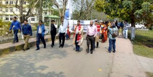 A procession being taken out on the occasion of the convocation of Dibrugarh University.