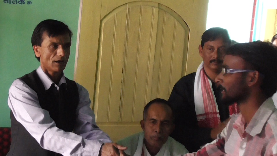 AGP , Darrang President Kamaleswar Barua offering a prrimary membership party ticket to a new comer 1