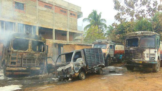 The vehicles burnt at Bokajan.