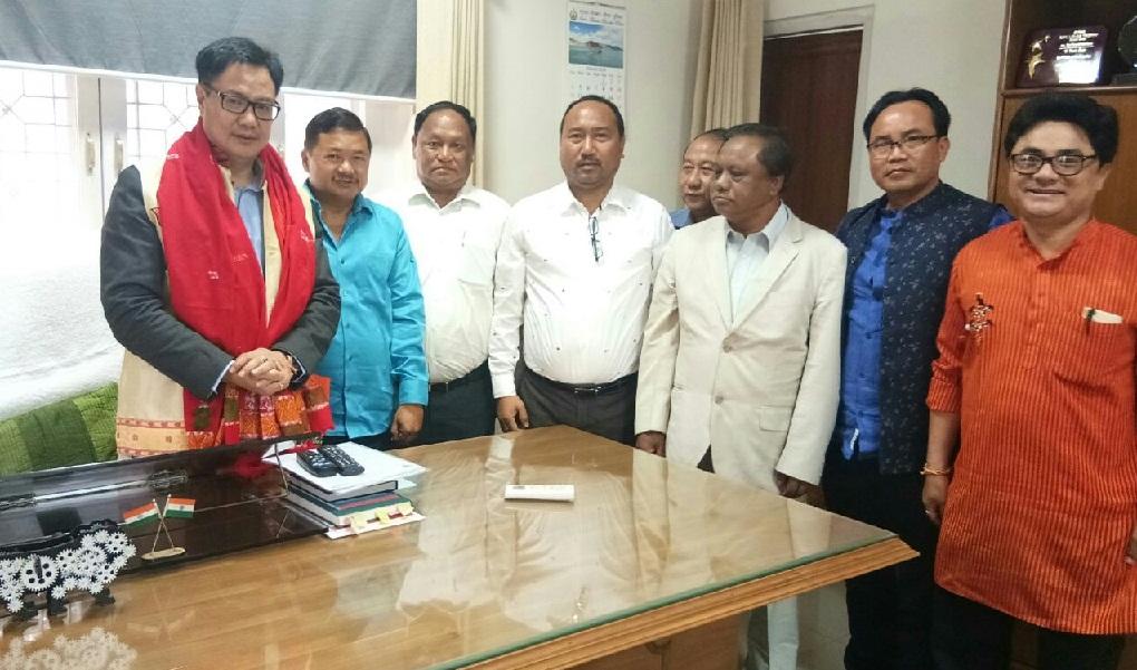The KAAC delegation with Union Minister Kiren Rijiju in New Delhi.