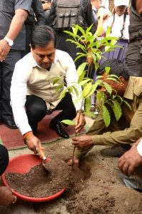 Chief Minister Sarbananda Sonowal planting a sapling at the Assam Administrative Staff College campus, Khanapara in Guwahati on the occasion of International Day of Forest.