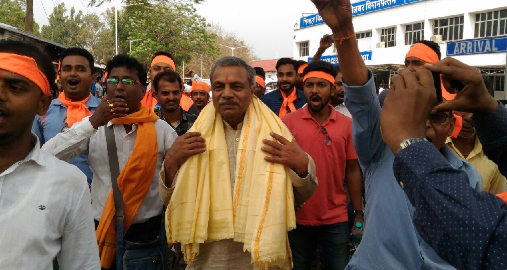 VHP leader Dr Surendra Kumar on his arrival at Silchar.