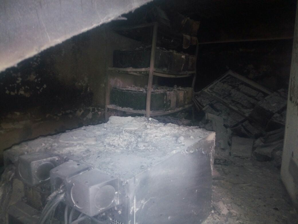 A view of the fire that took place in Block A of BTC Secretariat.