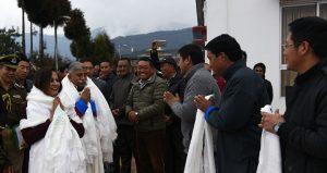 Governoer feliciated outside the Tawang Monastery (1)