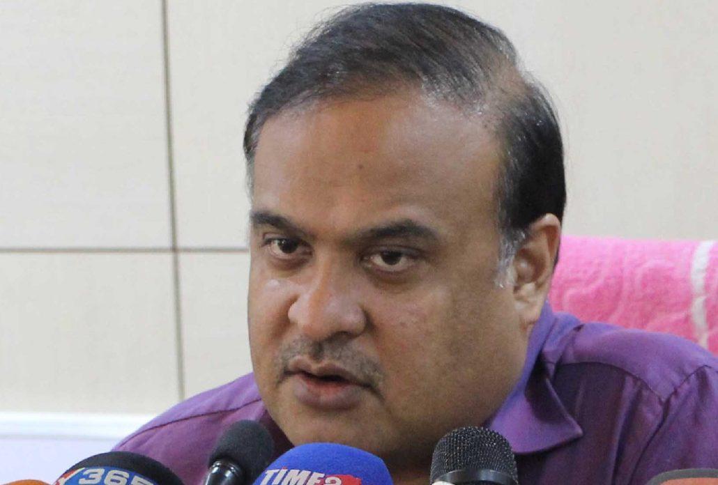 Education Minister Himanta Biswa Sarma addressing a press conference at Janata Bhawan in Guwahati on Sunday. UB