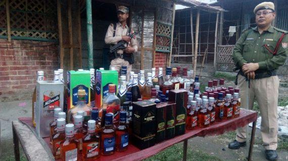 Illegal liquor bottles recovered in Namrup.