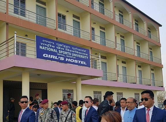 File photo: Manipur CM N Biren Sing inaugurating girls' hostel of National Sports University at Imphal. Photo: Sobhapati Samom