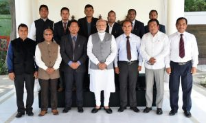 Meghalaya Chief Minister Conrad K Sangma, his Cabinet colleagues, MDA partners posing for a group photograph with Prime Minister Narendra Modi at his residence in New Delhi.