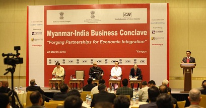 A view of the second edition of Myanmar-India Business Conclave in Yangon on March 22, 2018. Photo: Mizzima News