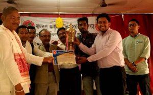 Abhishek from JB College wins best debater's prize in All Assam Debate Contest at Namrup College 1