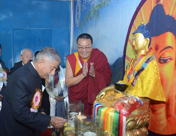 Arunachal Pradesh Governor BD Mishra lighting inaugural lamp of National Conference on Buddhist Education organised by Central Institute of Himalayan Culture studies at Dahung, in West Kameng district of Arunachal Pradesh on March 19, 2018. UB Photos