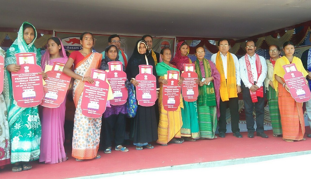 Assam Forest Minister Pramila Rani Brahma distributing LPG connections among beneficiaries in Kokrajhar.
