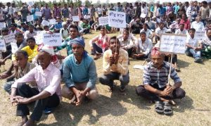 Protestors attending a rally in Mazbat of Udalguri district on Wednesday.