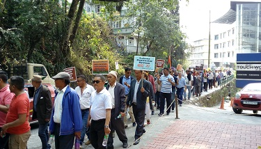 Members of Sikkim Krantikari Morcha taking out 'March for Justice' in Gangtok to press for their seven-point demands on March 24, 2018. Photo: Sagar Chhetri