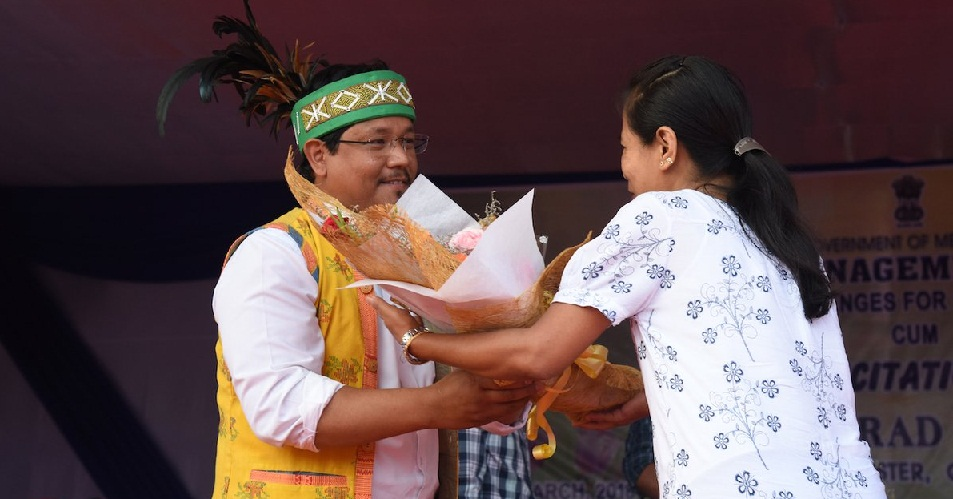 Meghalaya CM Conrad Sangma being felicitated in Garo Hills.